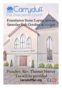 Invitation to our Foundation Stone Laying Service, Saturday 29th October 2016