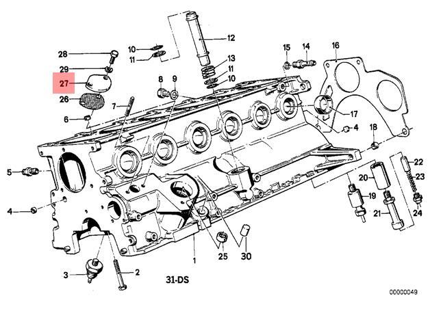 Genuine BMW 114 E12 E21 E28 E3 E30 E9 Cylinder Head Cover