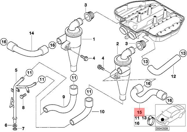 Genuine BMW E39 E52 Roadster Sedan Oil Separator Hose OEM