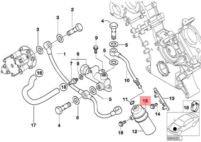 Genuine BMW E39 E52 Cylinder Head Vanos Mounting Pipe