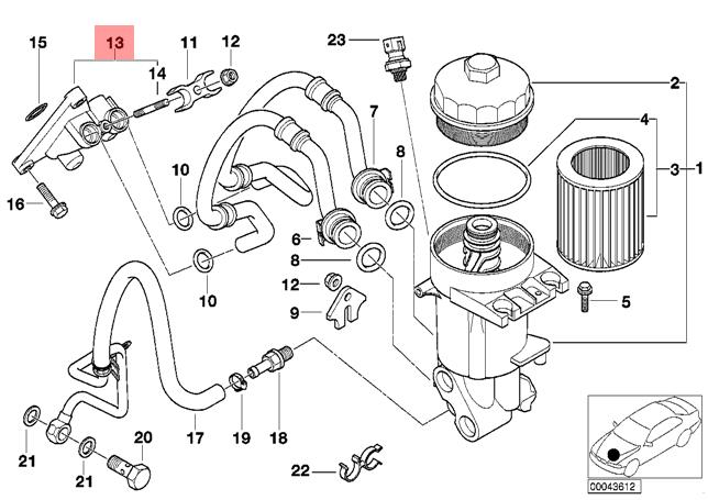 Genuine BMW E53 SUV Lubrication Oil Filter Connection