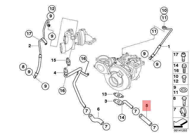 Genuine BMW E38 E39 E46 E53 E60 Turbocharger Lubrication