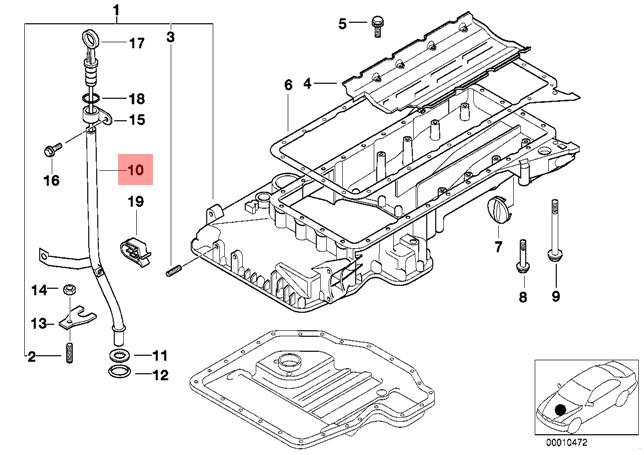 Genuine BMW E34 Sedan Wagon Engine Oil Dipstick Guide Tube