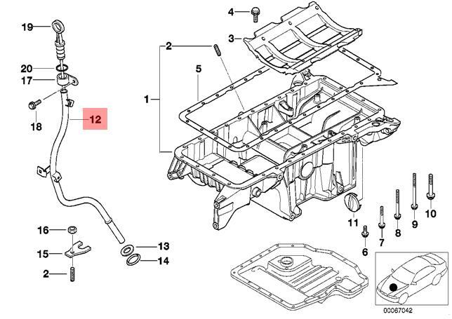 Genuine BMW E53 SUV Engine Oil Dipstick Guide Tube OEM