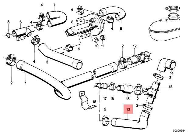 Genuine BMW E28 Sedan Cooling System Water Hose OEM