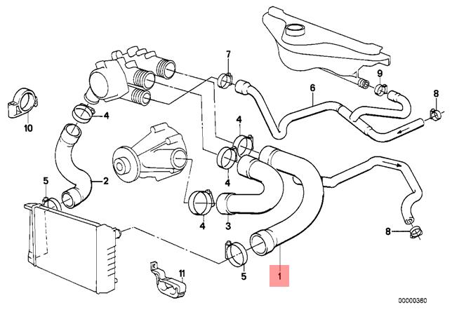 Genuine BMW E34 Saloon Cooling System Water Hose OEM