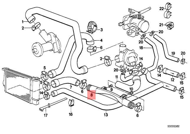 Genuine BMW E30 E34 Z1 Cabrio Cooling System Water Hose
