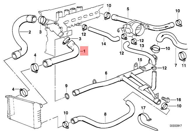 Genuine BMW E36 Cabrio Compact Cooling System Water Hose