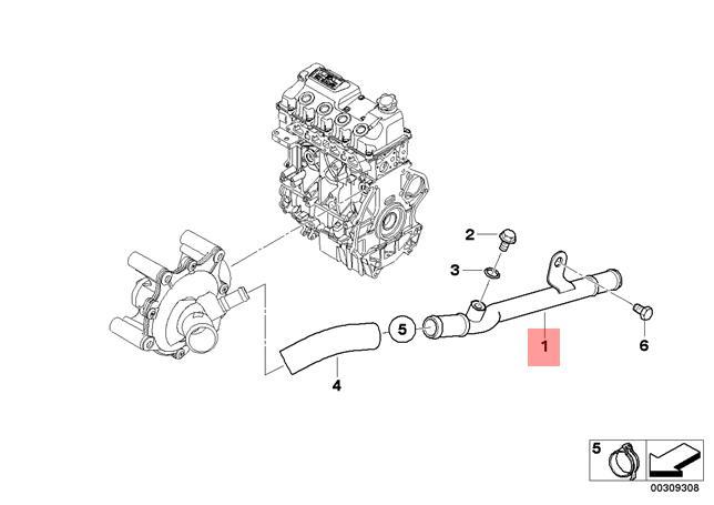 Genuine BMW JCW R52 R53 Cabrio Coupe Engine Coolant Hose