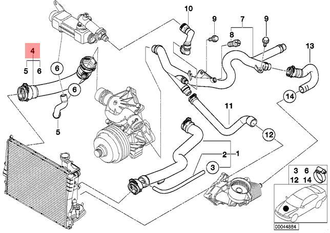 Genuine BMW E39 Sedan Wagon Cooling System Water Hose OEM