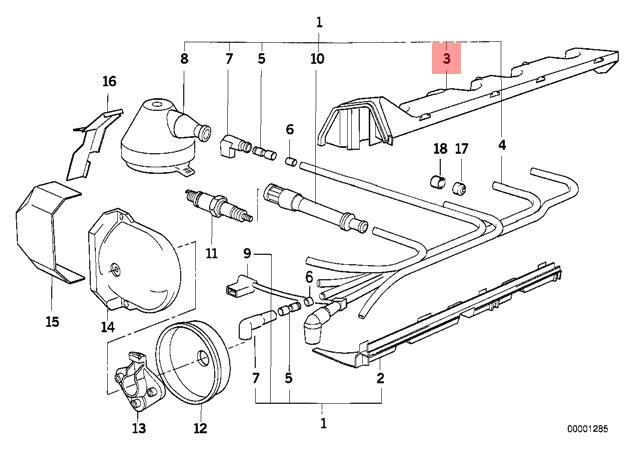 Genuine BMW E30 Ignition Wiring/Spark Plug Upper Guide