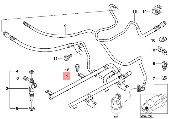 Genuine BMW E52 Roadster Fuel Injection Pipe OEM