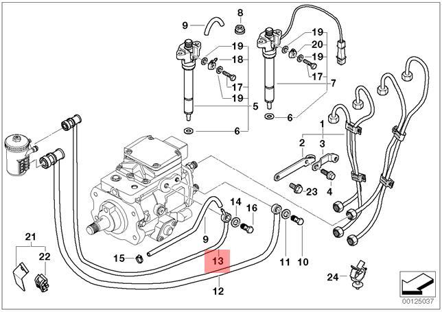 Genuine BMW E39 Sedan Wagon Fuel Injection Pipe Return