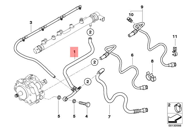 Genuine BMW E46 Compact Fuel Injection System Return Line