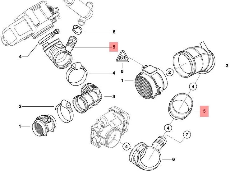 Genuine Air Intake Boot + Coupling Ring BMW Z3 Roadster