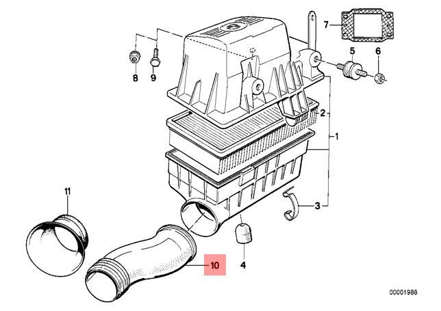Genuine BMW E34 Sedan Wagon Air Filter Intake Tube OEM