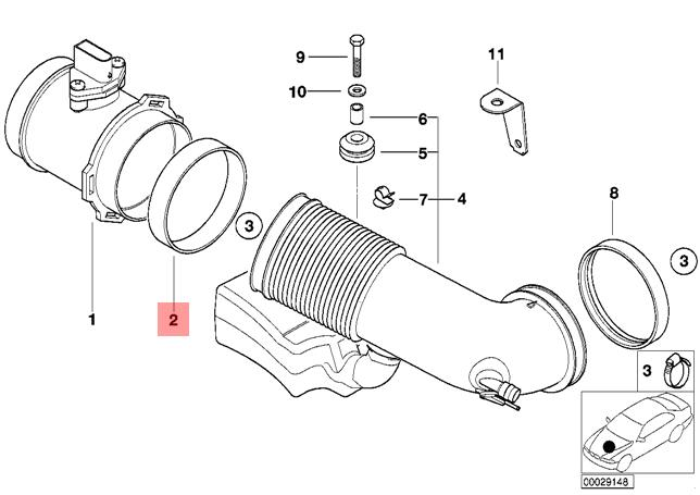 Genuine BMW 540i 740i 740iL Z8 Air Mass Sensor Boot to Air