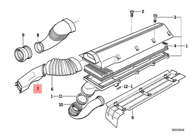 Genuine BMW E36 Sedan Wagon Air Filter Intake Tube OEM