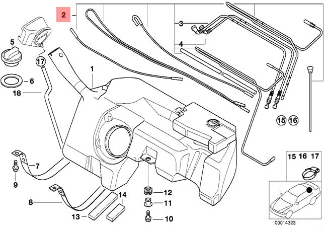 Genuine BMW Z3 Coupe Roadster Plastic Fuel Tank Pipe Set