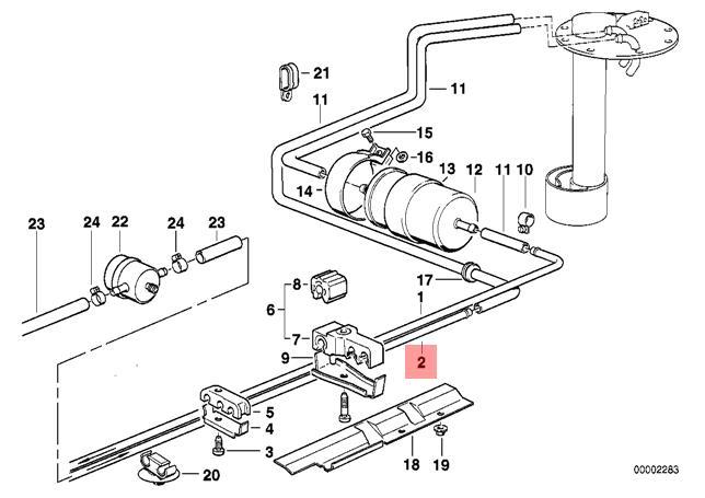 Genuine BMW E32 Sedan Cooling System Fuel Return Pipe OEM