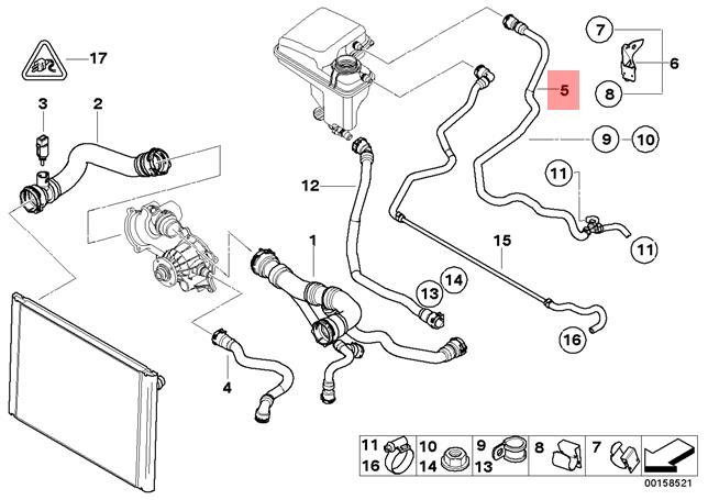 Genuine Radiator Vent Pipe BMW E65 E66 E67 760i 760Li