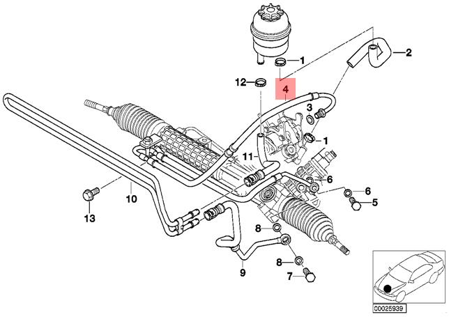 Genuine BMW E46 Coupe Sedan Pressure Hose Assembly OEM