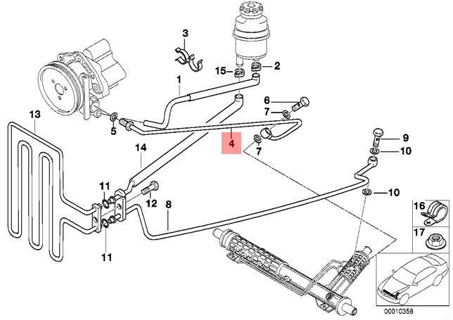 Genuine BMW E39 Estate Saloon Pressure Hose Assembly OEM