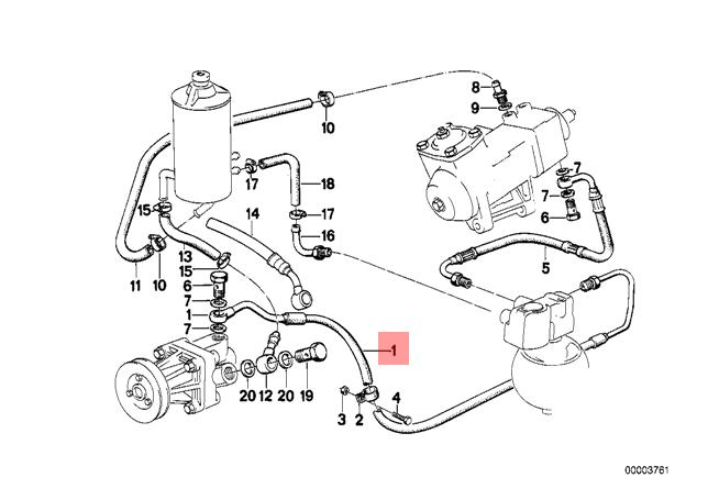 Genuine BMW E28 Sedan Pressure Hose Assembly OEM