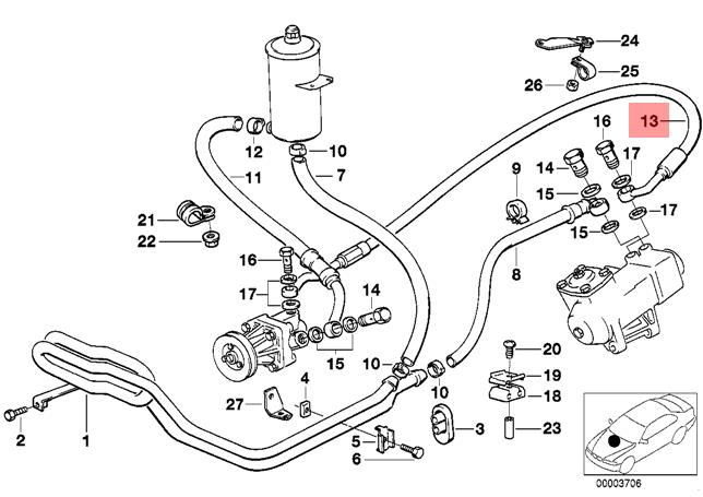 Genuine BMW E34 Sedan Pressure Hose Assembly OEM