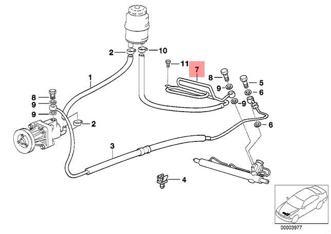 Genuine BMW E36 320i 323i 325i Power Steering Return Hose