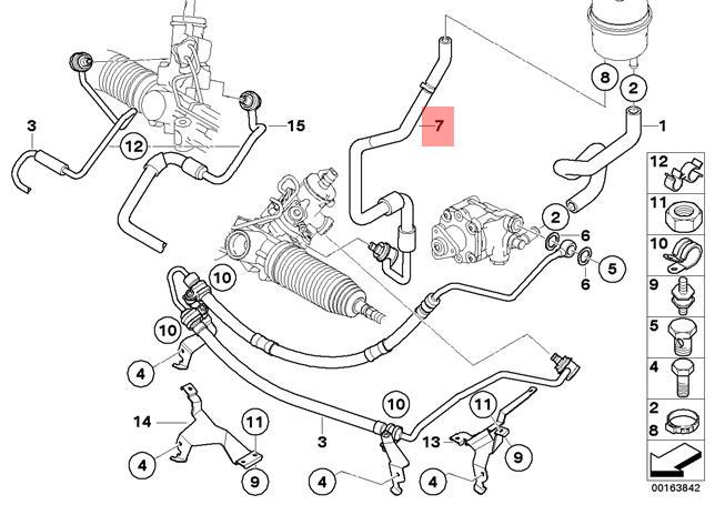 Genuine BMW E83N SUV Hydro Steering Oil Return Pipe OEM