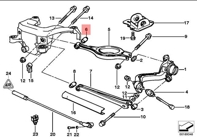 Genuine BMW Rear Control Arm Rubber Mounting Bush Upper