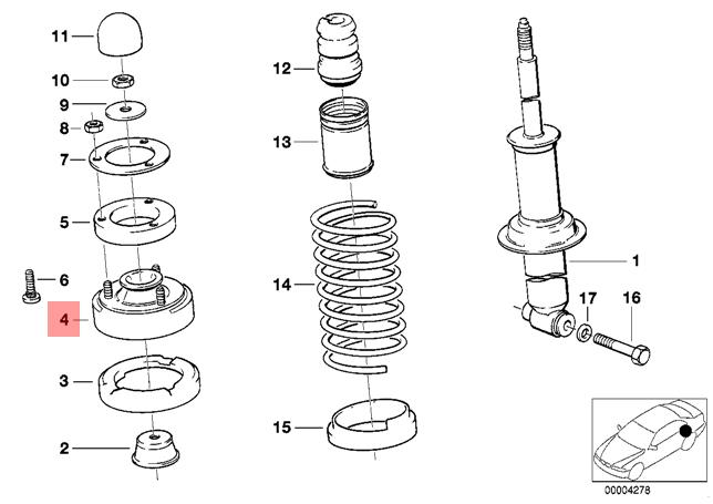 Genuine BMW E34 5-Series OEM Rear Shock Upper Mount 525i