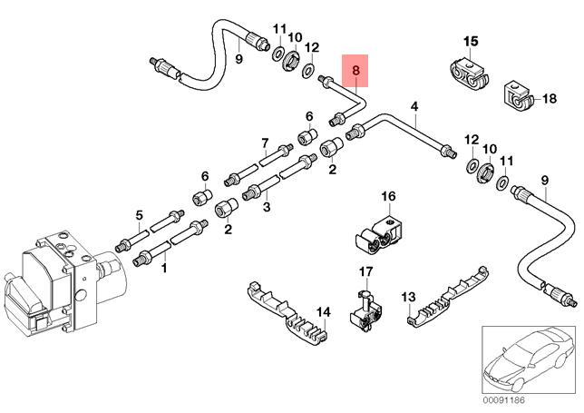 Genuine BMW E65 E66 E67 Saloon Rear Brake Pipe OEM