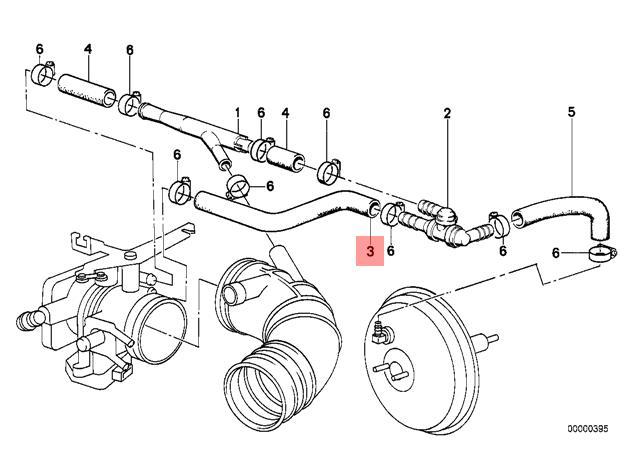 Genuine BMW E30 E34 Z1 Roadster Sedan Vacuum Control Hose