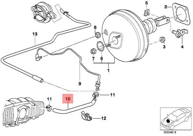 Genuine BMW E39 Sedan Wagon Brake Servo Unit Vacuum Hose