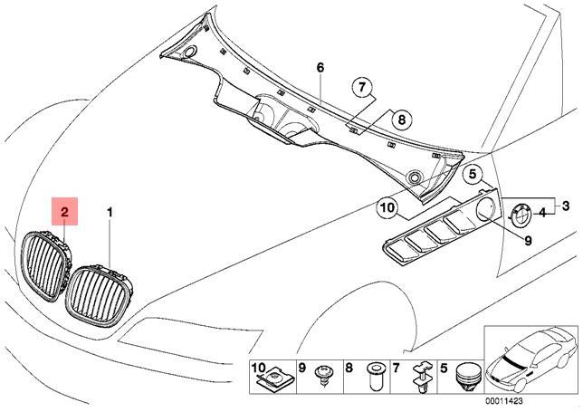 Genuine BMW Z3 Coupe Front Radiator Kidney Grille O/S OEM