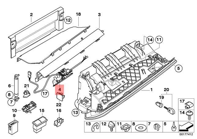 Genuine BMW E93 E93N Lower Glove Compartment Box Lock OEM