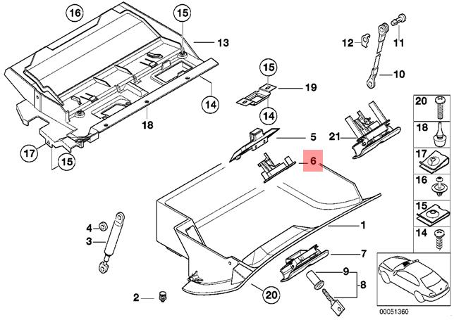 Genuine BMW E39 Sedan Wagon Glove Box Locking Mechanism