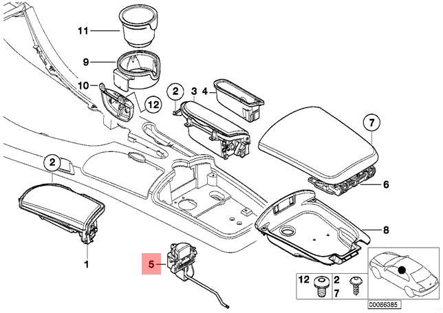 Genuine BMW E52 Roadster Front Center Console Lock
