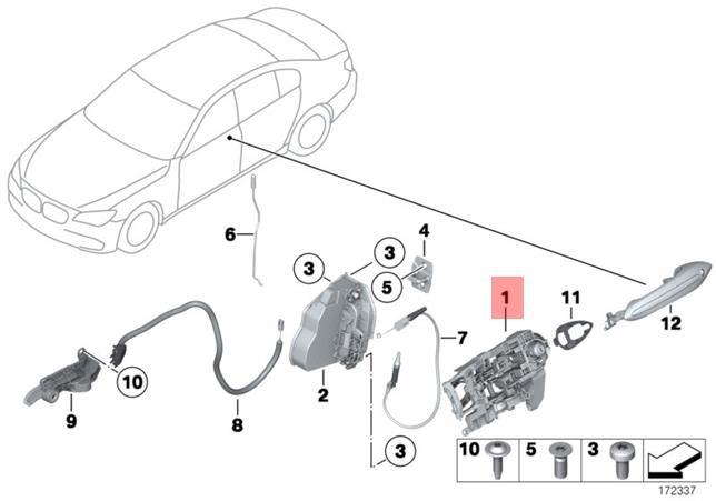 Genuine BMW F01 F01N F02 Right Door Handle Actuator
