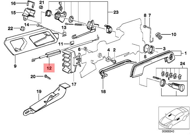 Genuine BMW e34 530i 540i M5 Front Right Handle to Lock