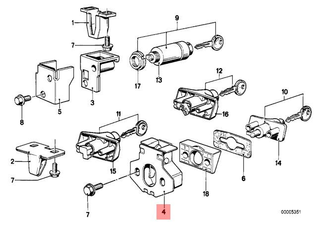 Genuine BMW E12 E24 E28 Lower Glove Compartment Box Lock