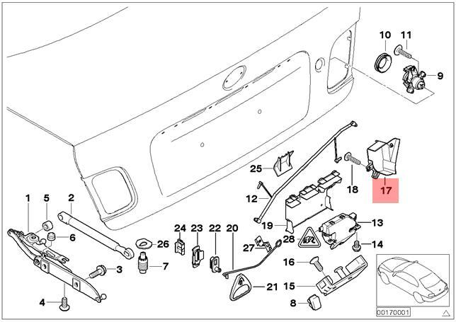 Genuine BMW E46 Sedan Trunk Lid Lock Cover Trim OEM
