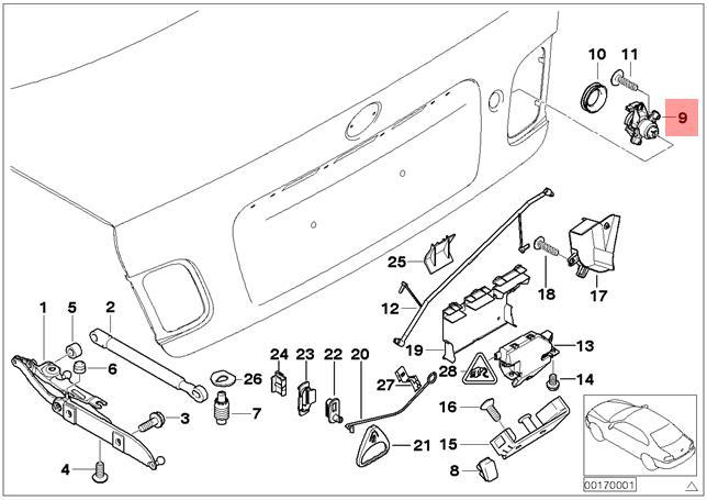 Genuine BMW E46 Coupe Sedan Trunk Lid Lock Cylinder Key