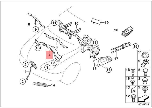 Genuine BMW E65 E66 Sedan Center Engine Compartment Panel