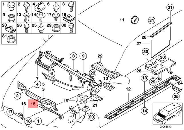 Genuine BMW E39 Sedan Left Engine Compartment Closing