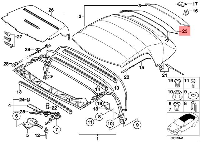 GENUINE BMW Z3 Roadster Vitre Arrière Cover OEM