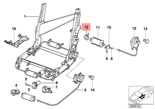 Original BMW 8er E31 Coupe Sitz Rückenlehne