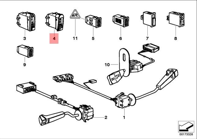 Genuine BMW E34 Sedan Wagon Fog Tail Light Lamp Switch OEM